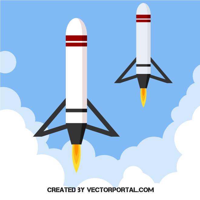 Rocket boosters vector clip art.