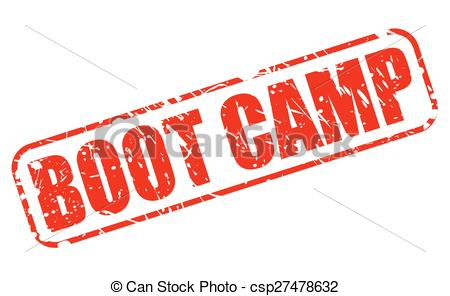 Boot camp red stamp text.