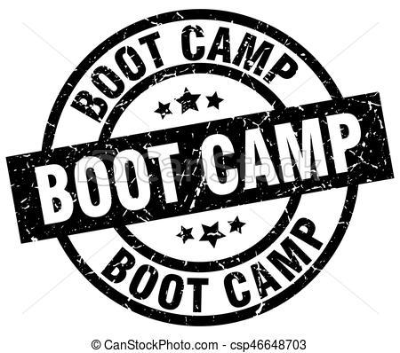 boot camp round grunge black stamp.