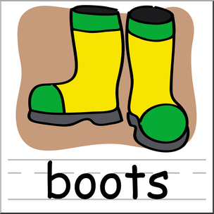 Clip Art: Basic Words: Boots Color Labeled.