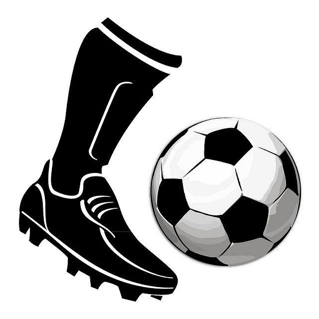 Boot Kicking Football Vector.