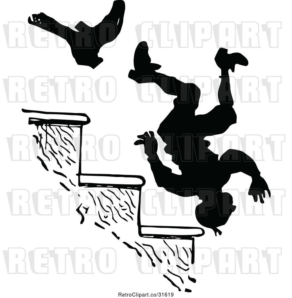 Vector Clip Art of Boot Kicking a Guy down Stairs by Prawny.