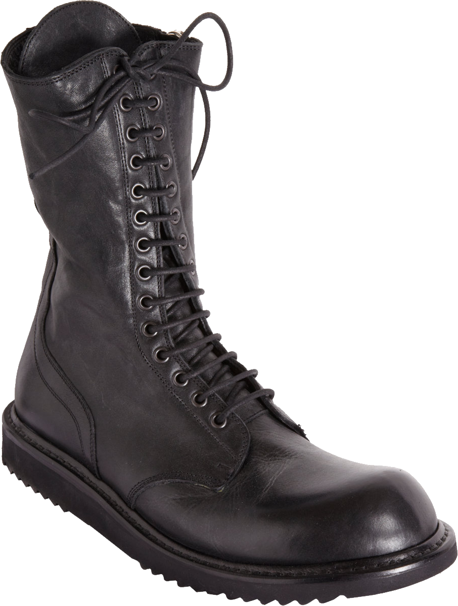 Black Leather Casual Boot PNG Image.