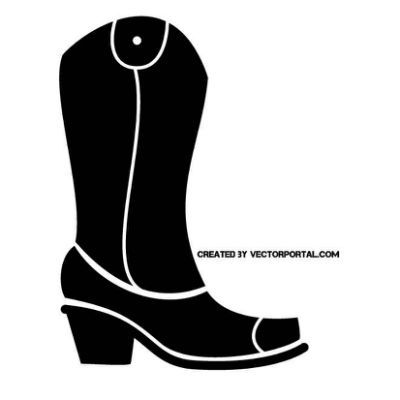 Cowboy Boot Silhouette Clip Art.