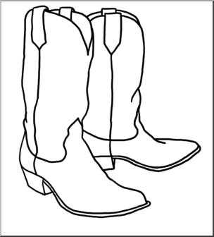 Clip Art: Western Theme: Cowboy Boots B&W I abcteach.com.
