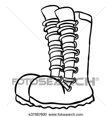 Black and white pair of boots Clipart.