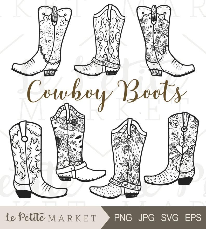 Cowboy Boot Clip Art, Hand Drawn Cowboy Boots, Cowgirl Boots Clipart,  Cowboy Boot Digital Stamp, Western Boots ClipArt, Rodeo Clipart.