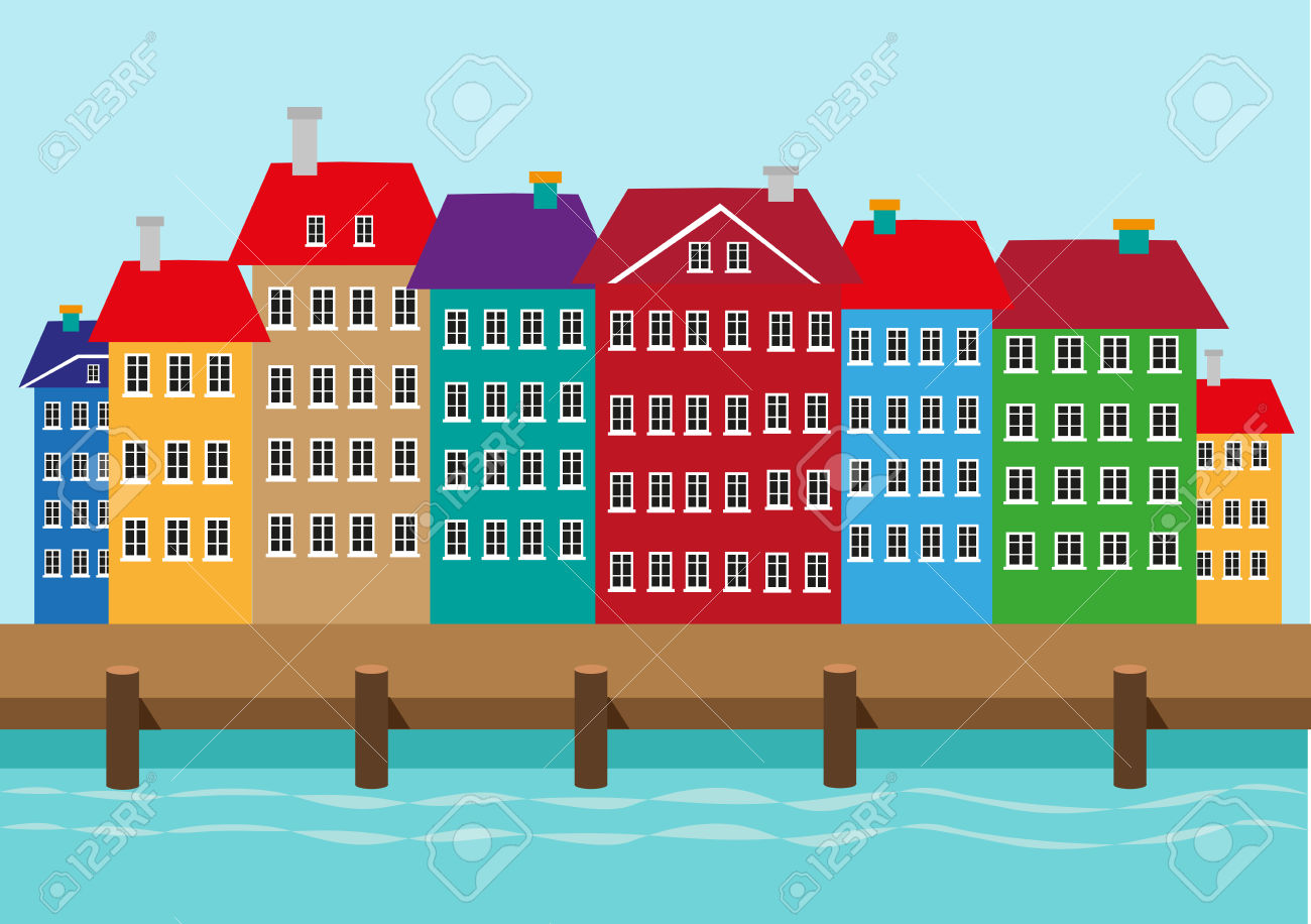 Bunte Häuser Entlang Einer Bootssteg Oder Den Hafen. Hafenviertel.