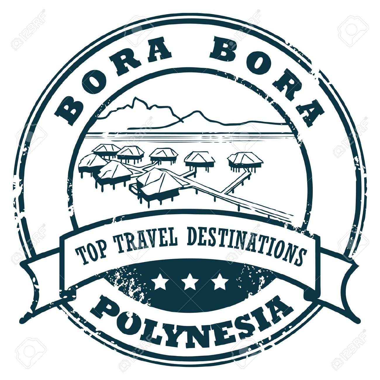 Grunge Rubber Stamp With The Bora Bora Royalty Free Cliparts.