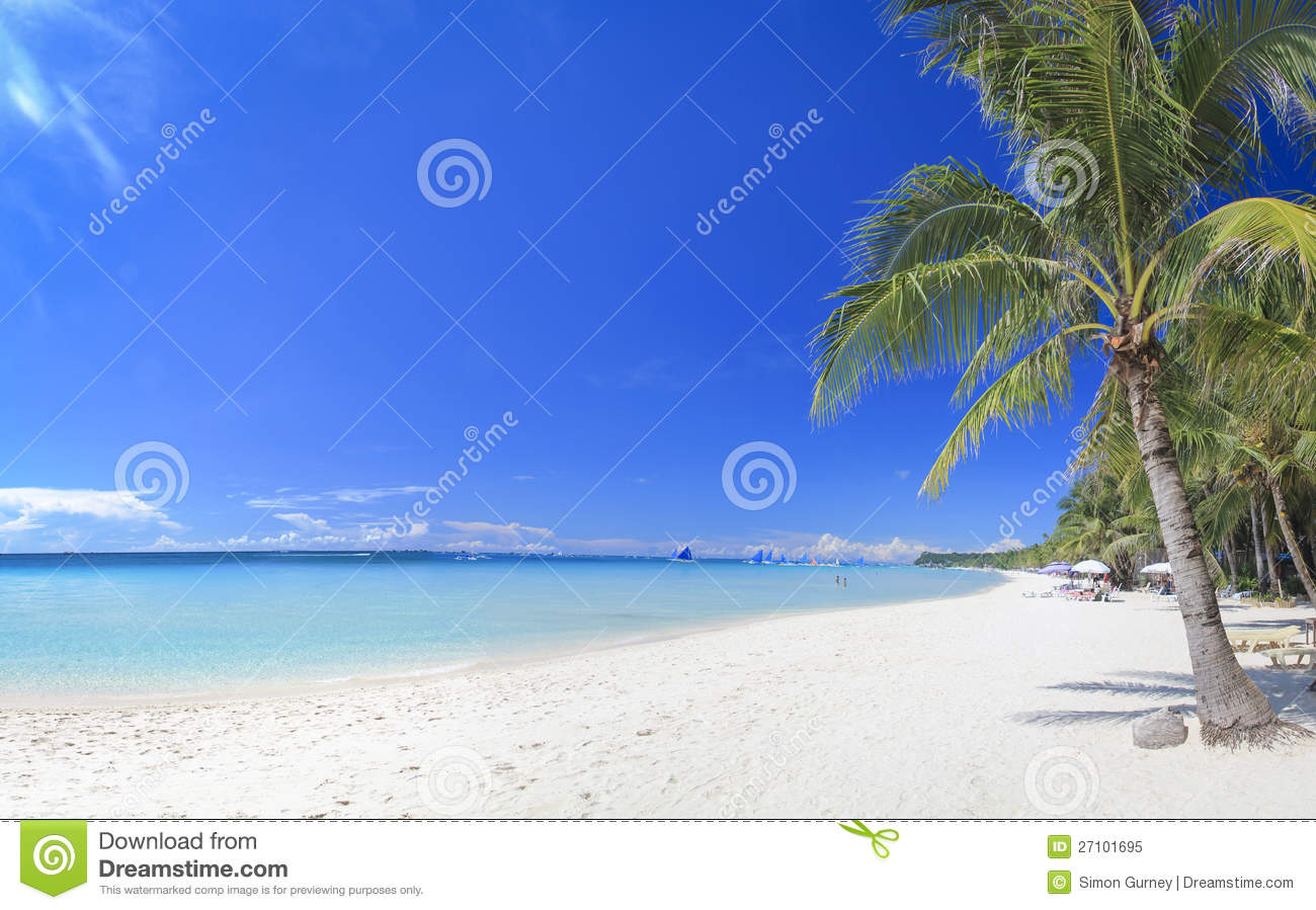 Boracay Island White Beach Paraw Philippines Stock Photos.