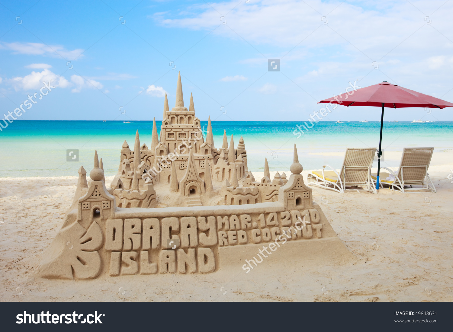 Sand Castle On Tropical White Sand Stock Photo 49848631.