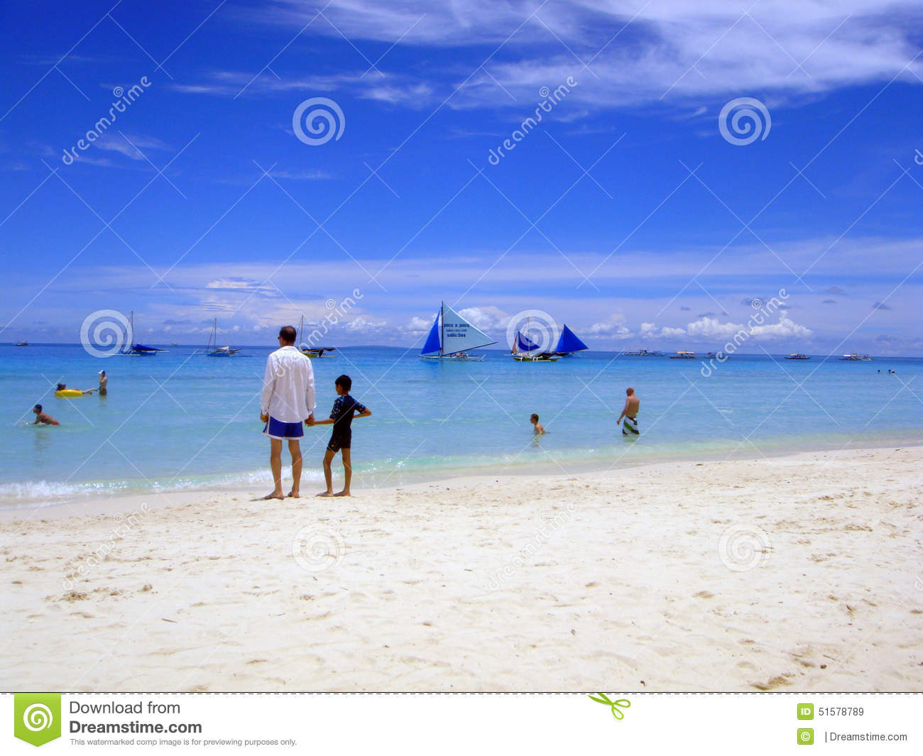 Boracay Beach And Sail Boat View Editorial Stock Image.