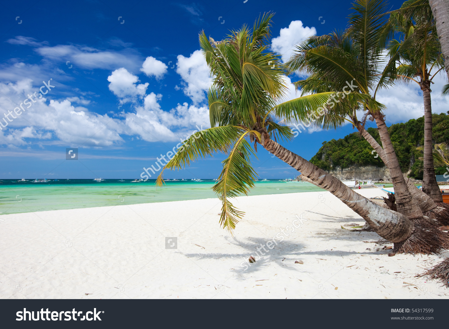 Perfect Tropical White Sand Beach In Boracay, Philippines Stock.