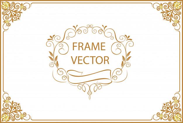 Gold border design certificate template Vector.
