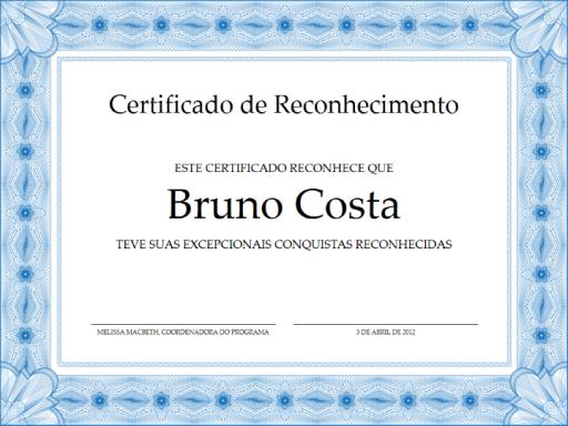 Certificado de Reconhecimento (borda formal azul).