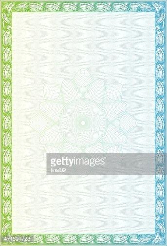 Certificado Em Branco Com Borda Verde E Azul imagens vetoriais.