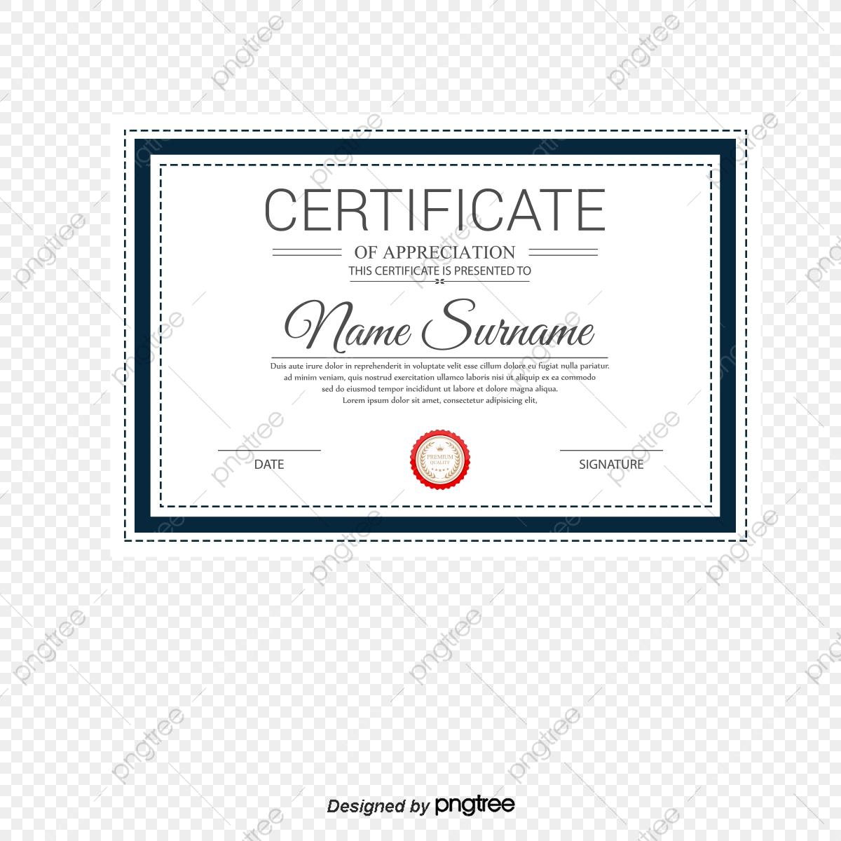 Certificado De Borda Em Azul, Vector De Material, Certificado De.