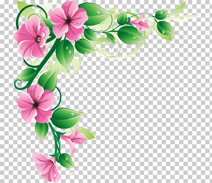 Petunias rosadas y borde de hojas verdes, flores de borde.