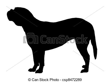 Stock Photographs of silhouette dog bordeaux isolate.