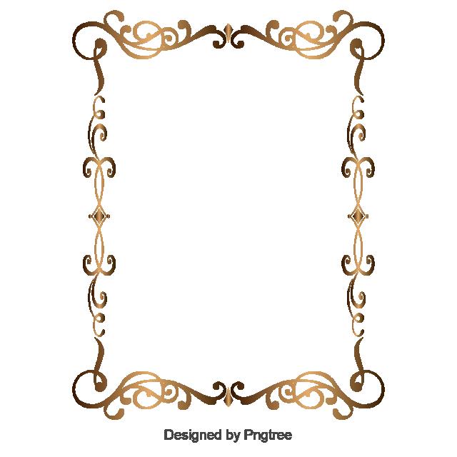2019 的 Gold Retro Decorative Border, Border Vector, Golden, Flower.