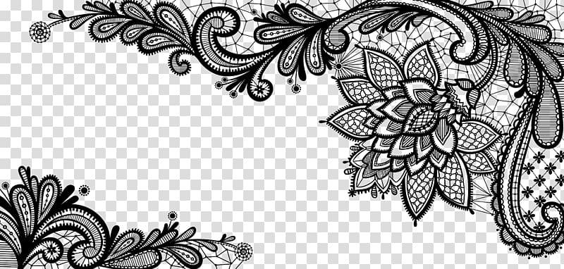 Lace , Black French Floral Border , black floral illustration.