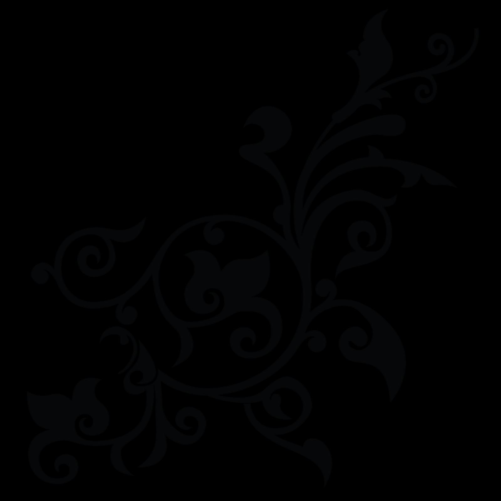 Black Floral Border Download Transparent PNG Image.