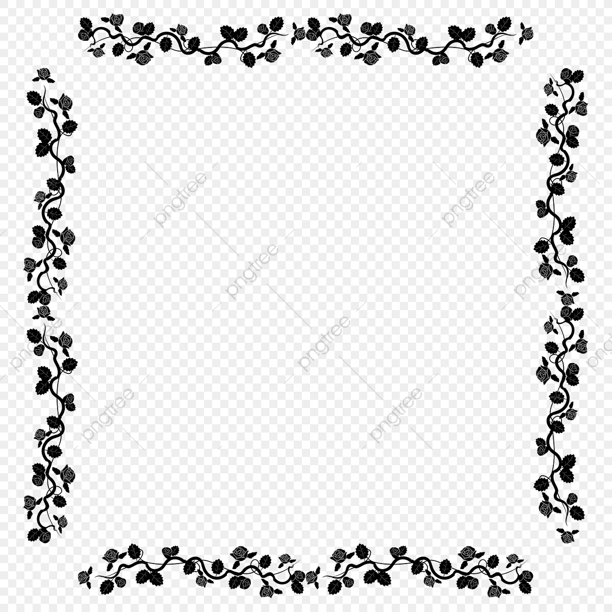 Beautiful Rose Border Black And White Frame, Border, Leaf, Rose PNG.