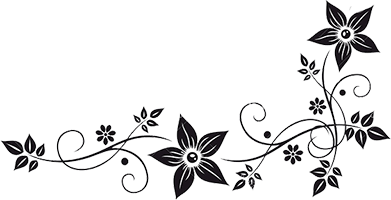 Flower border black and white png #41810.