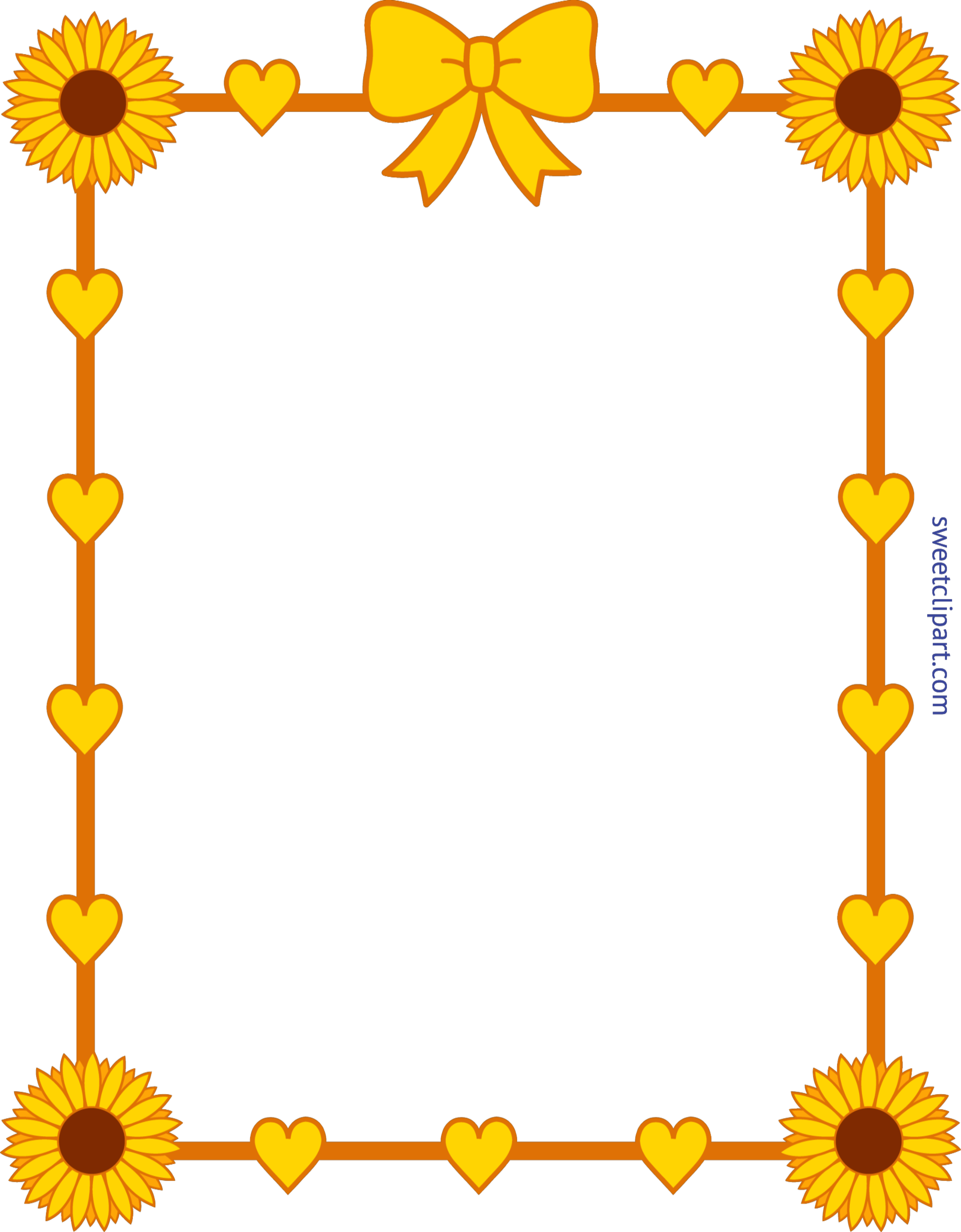 Sunflower Yellow Hearts Frame Border Clip Art.