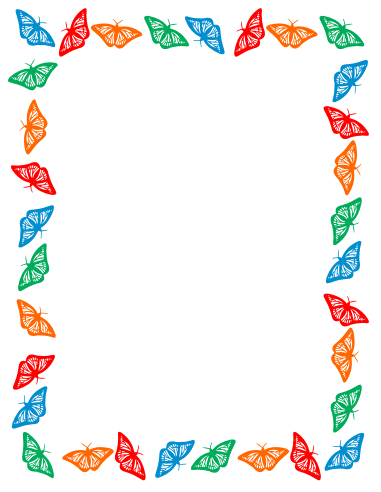 Butterfly border clipart color.