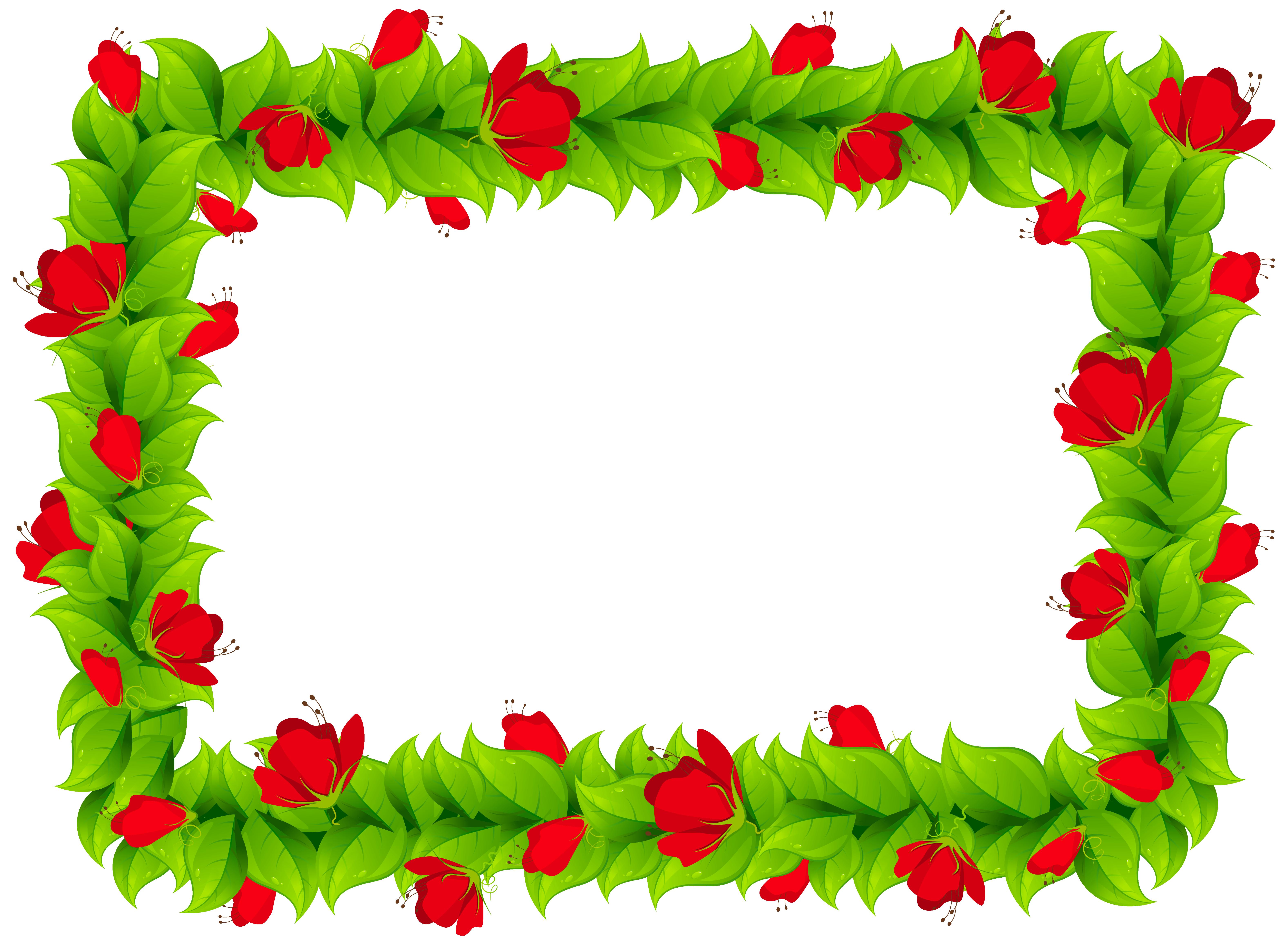 Floral Border Frame Clipart PNG Image.