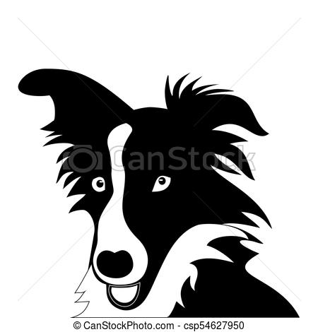 Silhouette of funny playful little puppy. border collie.