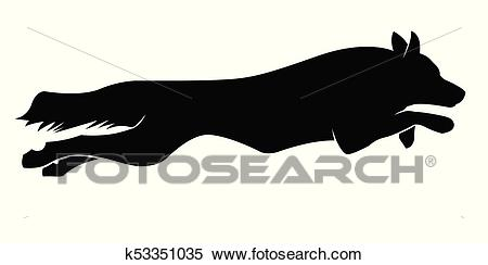 Running dogs silhouette. Border Collie Clipart.