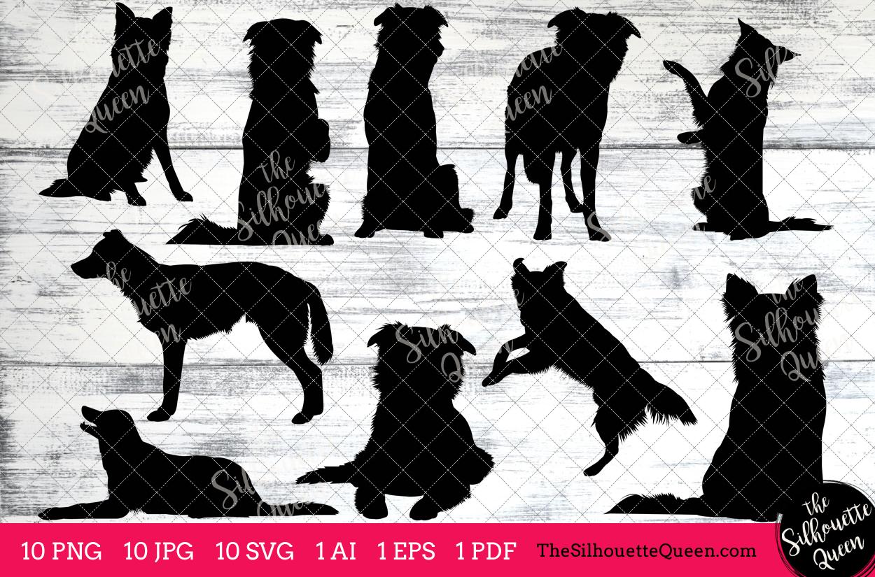 Border Collie Dog Silhouettes Clipart Clip Art (AI, EPS, SVGs, JPGs, PNGs,  PDF) , Border Collie Dog Vectors.