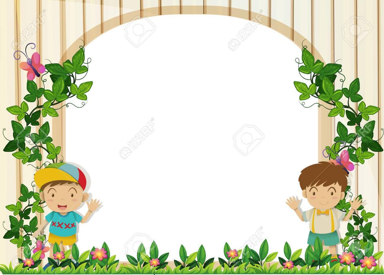 Border design with boys in the garden illustration.