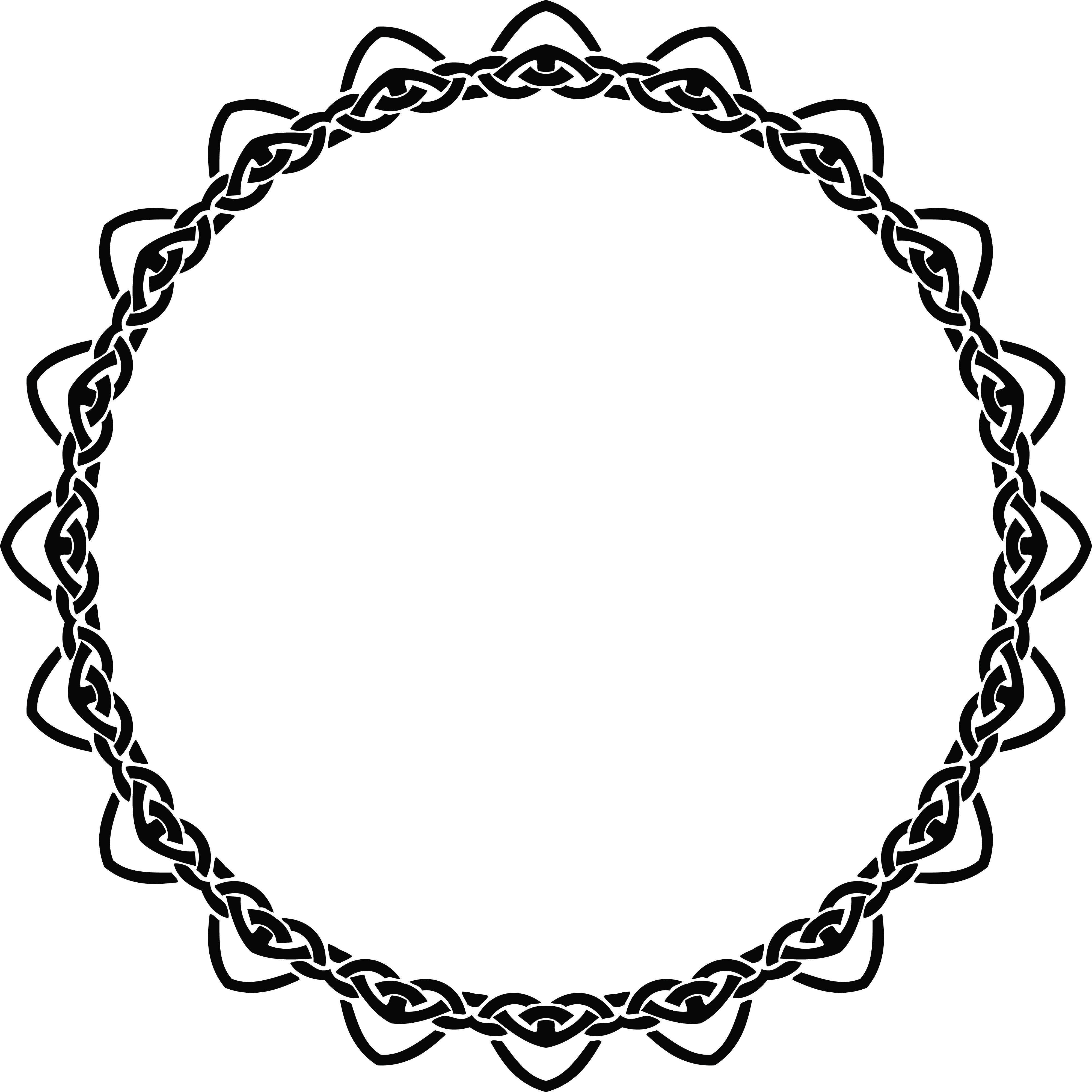 Free Clipart of a celtic round frame border design element in black.