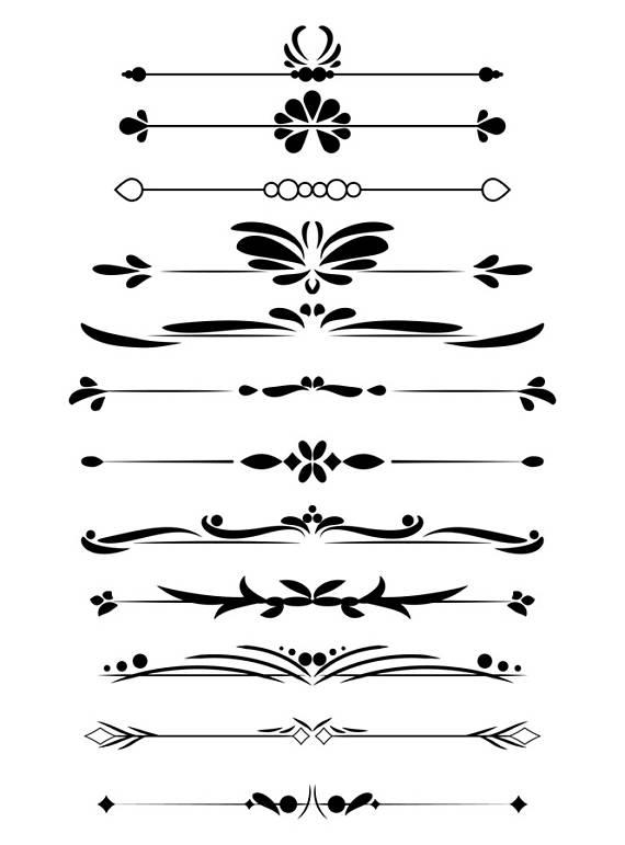 12 Decorative Dividers, Flourish Clipart, Text Divider Clipart.