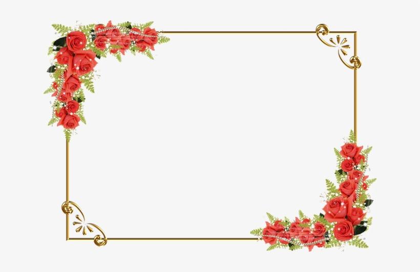 Red Floral Border Png Image Background.