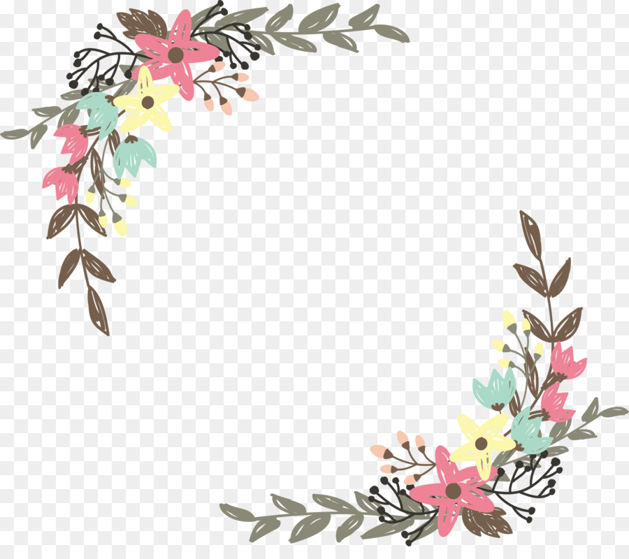 Flower Border Design png download.