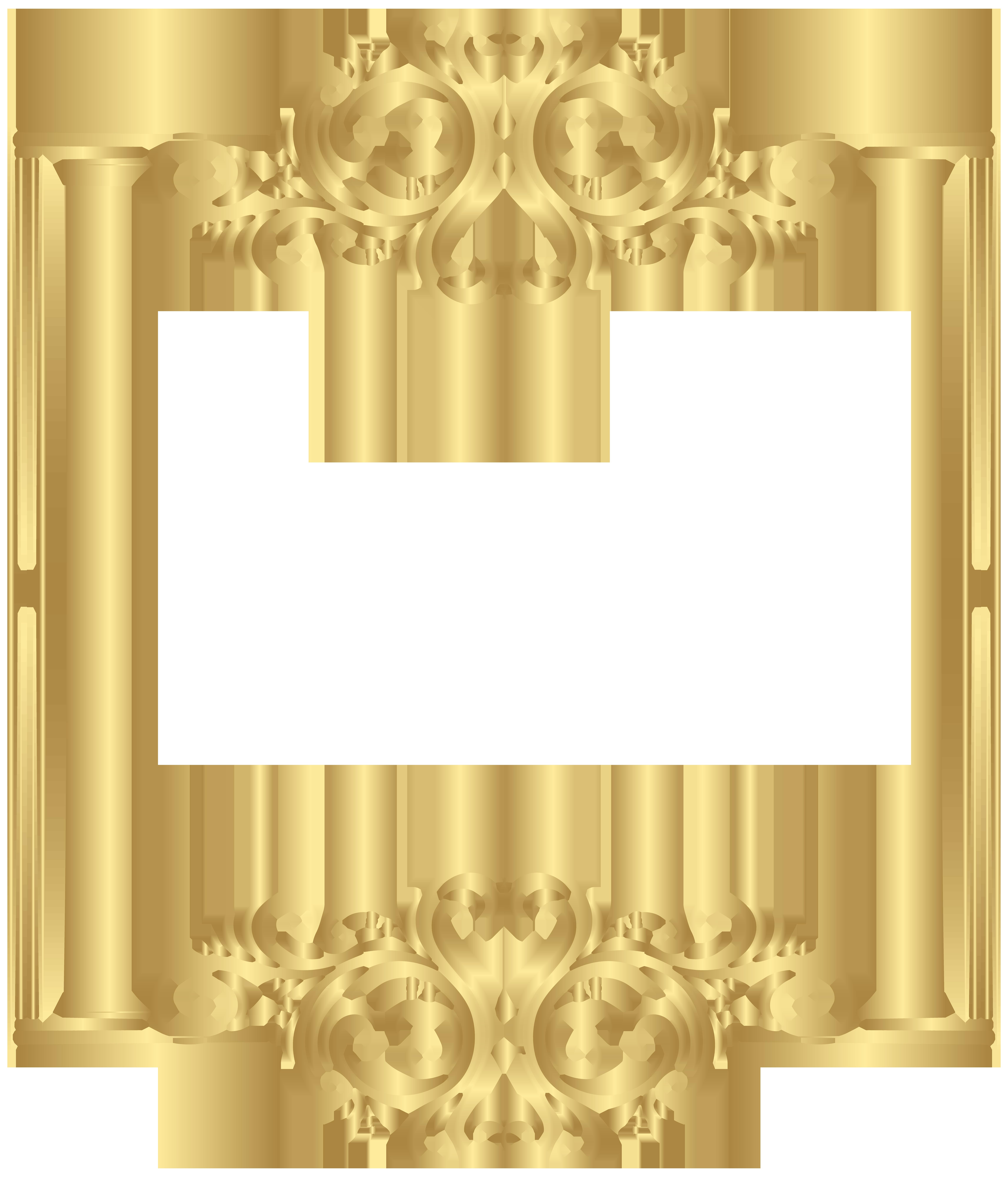 Gold Border Frame PNG Clip Art.