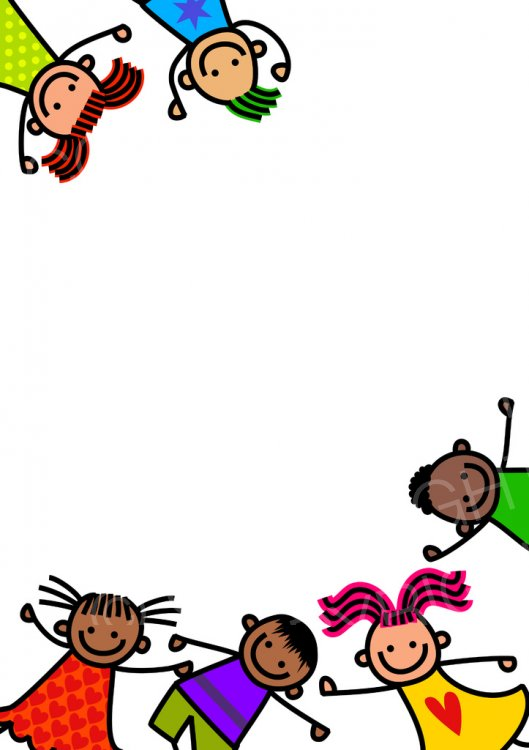 Cute Doodle Border Kids.