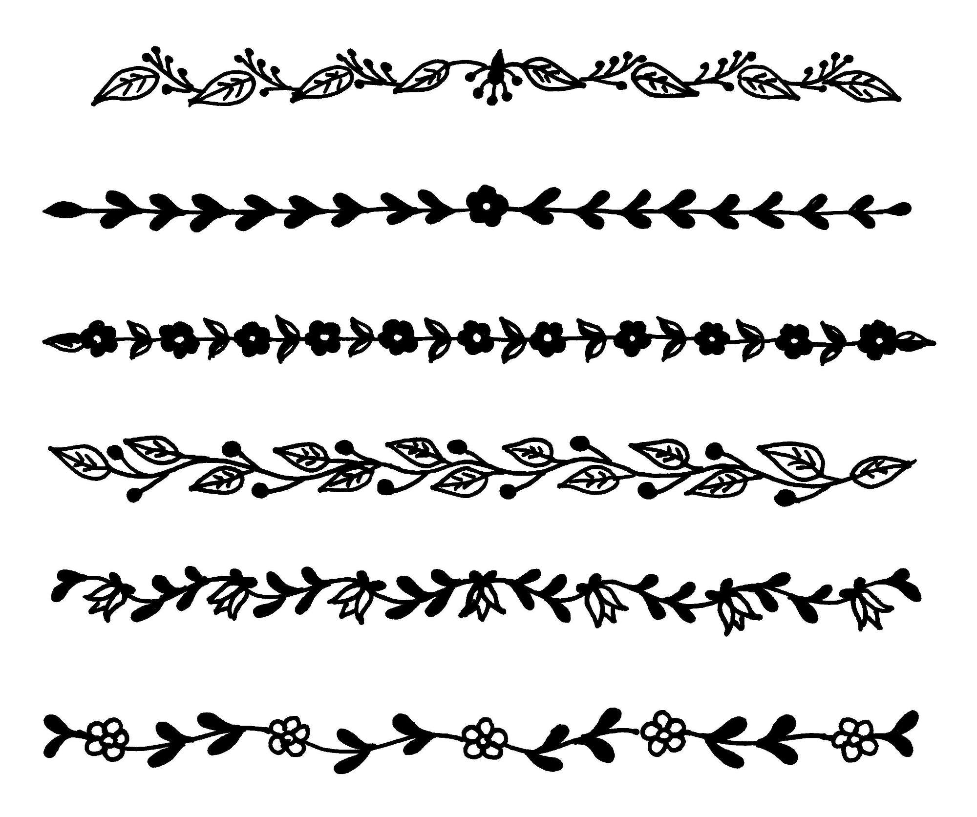 6 Flower Line Border (PNG Transparent).