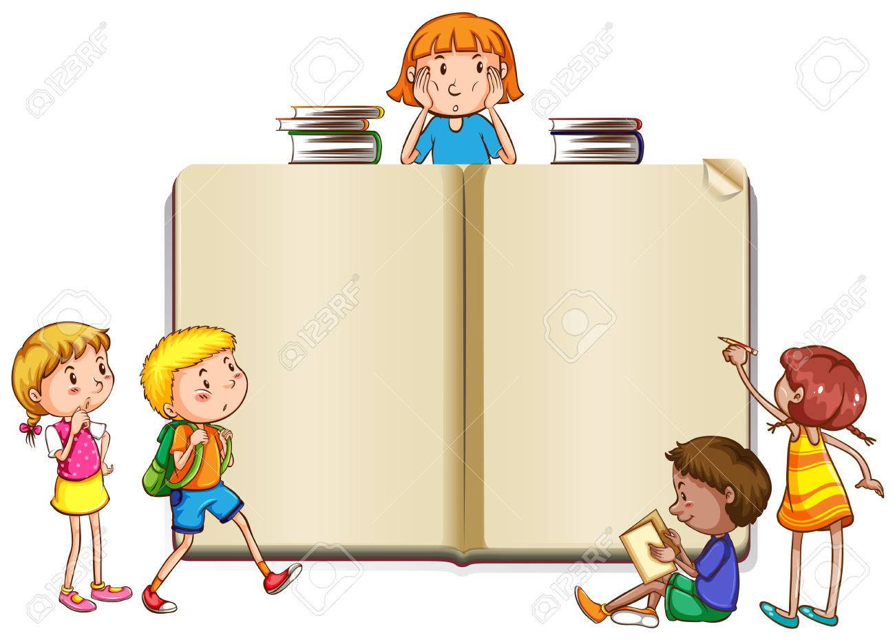 Border template with kids reading books illustration.