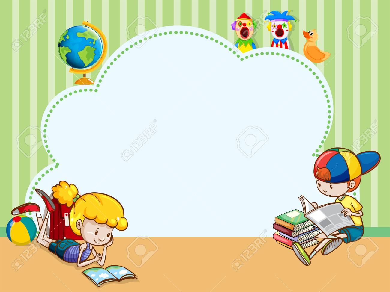Border template with kids reading books illustration..