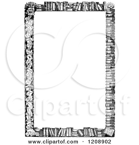 Clipart of a Vintage Black and White Border of Books.