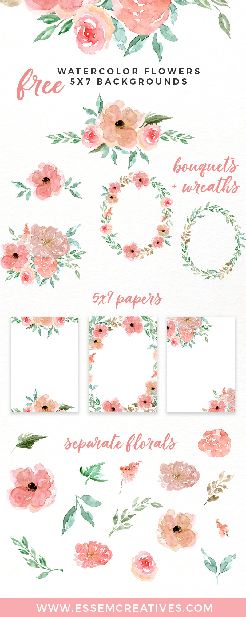 Free Watercolor Flowers Clipart, Floral Wreaths, 5x7 Borders.
