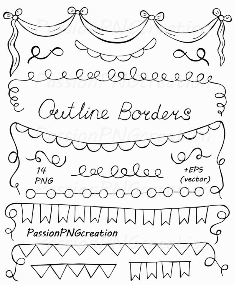 Hand Drawn Outline borders clipart, Banners Outlines, Coloring, Digital  stamp, PNG, EPS, PDF, vector, for Personal and Commercial Use.
