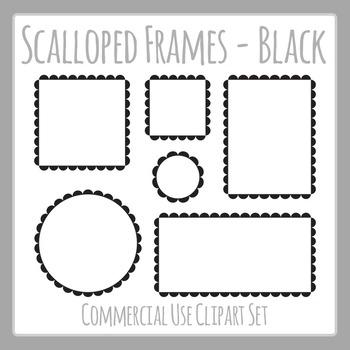 Black Scalloped Frames Borders Outline Frames Clip Art Set Commercial Use.