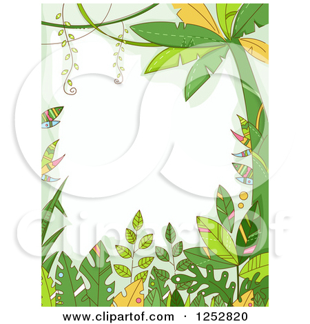 Clipart of a Jungle Border of Forest Plants.