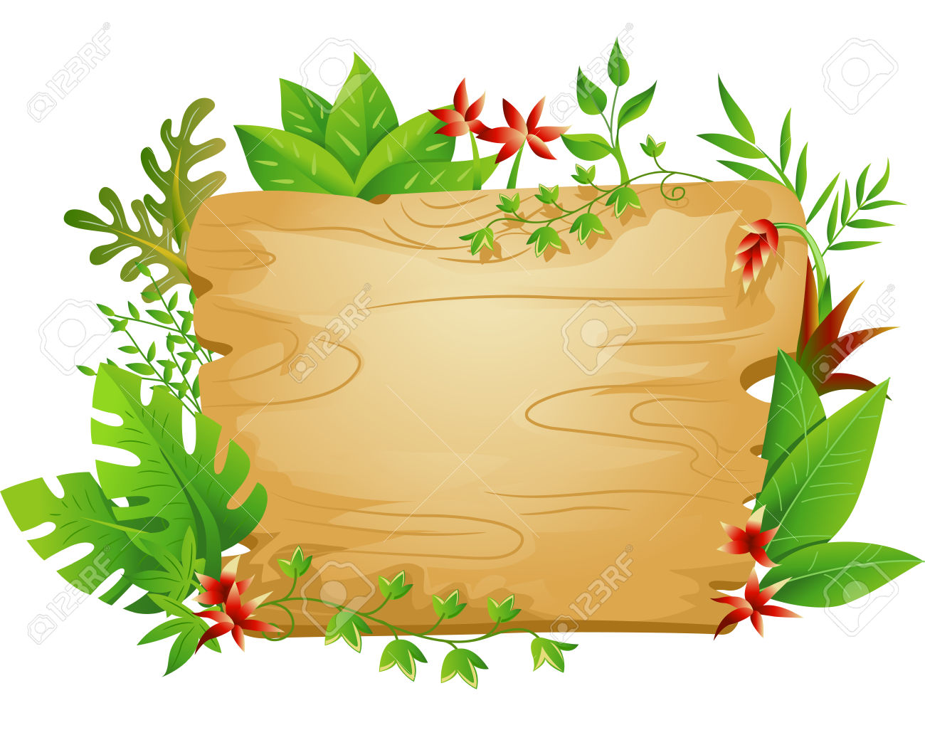 Border Illustration Featuring A Blank Board Surrounded By Jungle.